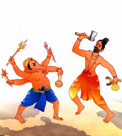 Lord-Ganesha-battle-with-Parashurama